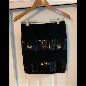 Guess black sequin Mini Bandage Skirt Medium